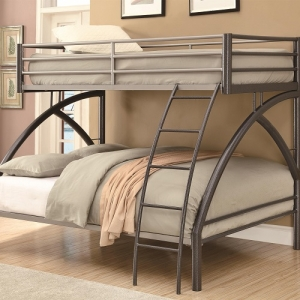 002MBB Twin/Full Contemporary Bunk Bed - Twin/Full metal bunk bed in dark gunmetal<br><br>Sculpted design with coordinating ladder and full length guard rails<br><br>Constructed of strong two-inch metal tubing<br><br>