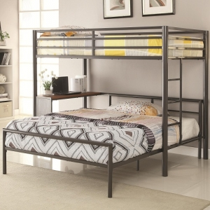 MLB006 Twin Metal Workstation Loft Bed - Twin bunk has full guard rails and a built-in ladder. <b>Optional bottom full bed fits in desk space area.</b><br><BR>