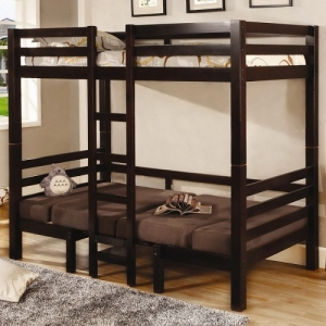 A0112TT Twin/Twin Convertible Loft Bed - Sturdy straight rails and a central ladder<br><Br>Top twin bunk bed sits atop a convertible futon bed and seat<br><br>