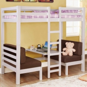 035TT Twin Over Twin Convertible Loft Bed - Top twin bunk bed sits atop a convertible futon bed and seat.<br><Br>Sturdy straight rails and a central ladder<br><br>