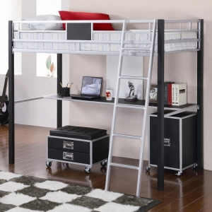 MLB008 Twin Loft Bed w/ Desk - Twin loft bed is made of solid metal finished in sleek silver and black that includes a built-in desk and ladder<br><br>