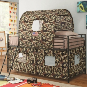 010TB Camouflage Tent Loft Bed - Youth tent with guard rails and matching coordinating ladder<br><br>