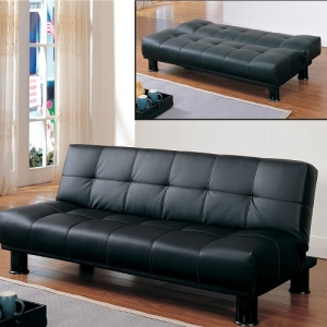 007FN Elegant Lounger - Offered in a Black Bi-Cast Vinyl cover with contrasting baseball stitching converts with little effort into a lounging bed<br><br>