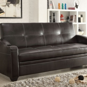 018FT Sofa Bed - With a quick adjustment to the click mechanism, turns from a casual sofa into a flat platform perfect for sleeping or just hanging out<br><Br>Features cup holders at arms for added convenience<br><br>