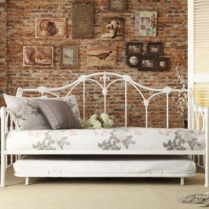 010MDB Metal DayBed W/ Trundle - Finished in white and draws design inspiration from the look of a delicate garden trellis<br><br>