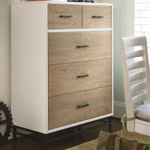 129CH 5 Drawer Chest - Top right drawer has a felt tray/hidden storage<b><Br>Removable drawer dividers in the larger drawers<br><br>Back panel with jewelry hooks slide out from right side only<br><br>Metal Base<br><Br>