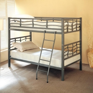 003MBB Twin Bunk Bed w/ Ladder - Twin/Twin bunk bed finished in light gunmetal<br><br>Frame features unique wave-like curves on surrounding rails with coordinating ladder to access top bunk<br><br>