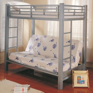 MLB015 Multi-Functional Twin Over Futon Metal Bunk Bed - Twin bunk over futon with full length guard rails, bilateral built-in ladders<br><br>