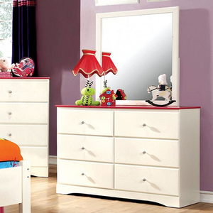 203M Mirror - Finish: White/Pink<br><br>Dresser Sold Separately<br><br>Dimensions: 32 1/4