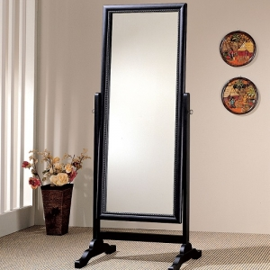012CM Cheval Mirror  - Grand cheval mirror in rubbed black finish<br><Br>Features roped carving frame inlay around the mirror