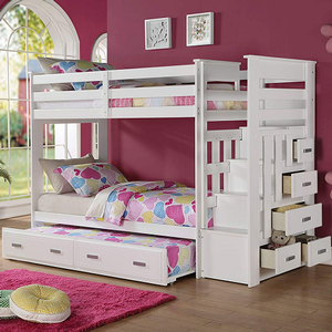 A0012TT Twin/Twin Bunk Bed w/ Storage Steps and Trundle - Finish: White<br><br>Available in Espresso<br><br>Skat Kit Included<br><br>Dimensions: 97