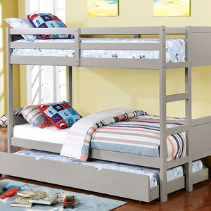 A0015FF Full/Full Bunk Bed in Gray - Finish: Gray<br><br>Available in White or Dark Walnut Finish<br><br>Available in Twin/Twin Bunk Bed<br><br>Foundation Required<br><br>Dimensions: 77 1/2