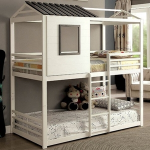 A0015TT House Bunk Bed - Color/Finish: White/Gunmetal<br><br>Materials: Metal, Others<br><br>Dimensions: 77 7/8