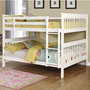 A0018FF Full/Full Bunk Bed w/ Bunk to Bunk Ladder - Finish: White<br><br>Available in Black<br><br>*Optional Storage Trundle<br><br>Slat Kit Included<br><br>Available in Twin/Twin Bunk Bed & Twin/Full Bunk Bed<br><br>Dimensions: 79.75