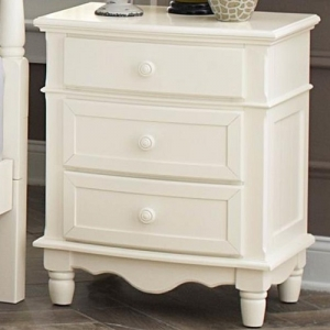 005NS 3 Drawer Nightstand  - Wooden knob hardware stands boldly against the double bow-fronted case goods<br><br>