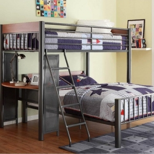 MLB004 Metal Loft Bed - Perches above the built-in student desk is the twin bed with metal framing that lends an air of contemporary style and a light graphite finish<br><br>
