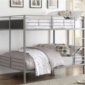 017MBB Metal Bunk Bed - The Grey FInish that covers this folding metal bunk bed plays perfectly with the clean design of the contemporary lines. <br><br>Black panel inserts provide contrast to the grey finish<br><br>