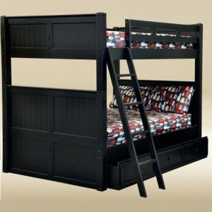 A0002FF Full/Full Bunk Bed in Black - *Underneath Storage Sold Separately*