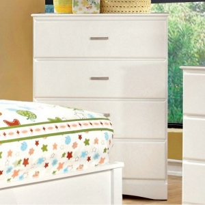 119CH White 4 Drawer Chest - White 4 Drawer Chest with durable center metal glides<br><br>
