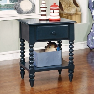0063NS Blue Night Stand - Transitional Style<br><Br>Single Drawer Night Stand<br><br>Unique Carved Leg Detail<br><br>Open Shelf Display Space<br><br>