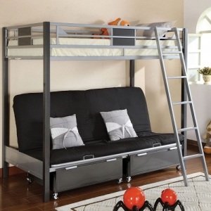 045MBB Twin over Futon Metal Bunk Bed - Contemporary<br><Br>Movable Ladder<br><br>Full Metal Construction<br><br>Optional Trundle & Drawers<br><br>