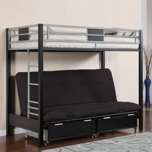 086MBB Twin over Futon - Contemporary Style<br><br>Optional Drawers & Side Ladder<br><br>Full Metal Construction<br><br>