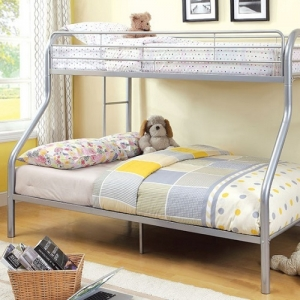 0068TMBB Silver Twin/Full Bunk Bed - Contemporary Style<br><br>Full Metal Construction<br><br>Attached Ladder On Both Sides<br><br>Improved Rail Reinforcement<br><br>Non-Recycled Heavy Gouge Tubing<br><br>Mattress Ready<br><Br>