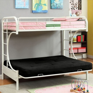 0085FNMBB White Twin/Futon  - Contemporary Style<br><br>Full Metal Construction<br><br>Improved Rail Reinforcement<br><br>Non-Recycled Heavy Gauge Tubing<br><br>Attached Ladder on Both Sides<br><br>