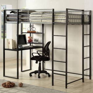 MLB010 Full Bed W/ Workstation - Available in Twin<br><Br>Workstation w/ Shelves<br><br>Metal Upper Safety Rails<br><br>Full Metal Construction<br><br>Silver & Gun Metal Finish<br><br>