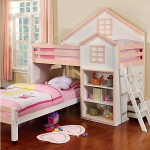 LBJ001 Twin/Twin Loft Bed - House Design Loft Bed<br><br>Movable Lower Bed with Casters<br><br>Drawers & Shelves<br><br>14 Pc. Slats Top & Bottom<br><br>
