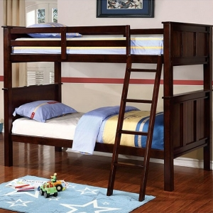 007FF Full/Full Bunk Bed - Available in Twin/Twin, Twin/Full & Twin/Queen Sizes<br><br>Contemporary Style<br><br>Angled Ladder<br><br>Top & Bottom Slat Kit Included<br><br>Extra Strength Insert & Lock Joint Structure<br><br>