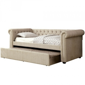 008DB Upholstered Day Bed w/ Trundle in Beige - Transitional Style<br><br>Button Tufted<Br><Br>Nailhead Trim<br><br>Curved Arms<br><Br>Solid Wood Framework Wrapped Tightly W/ Warm Linen Fabric<br><br>