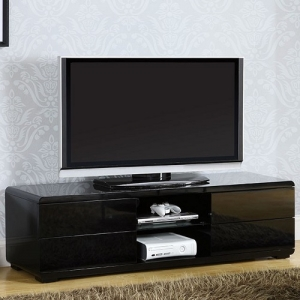 013MCH Media Chest Stand - Finished in white or black high gloss lacquer, this modern TV console has room for the largest TV, full extension drawers for storage and open shelving for easy access to media components.