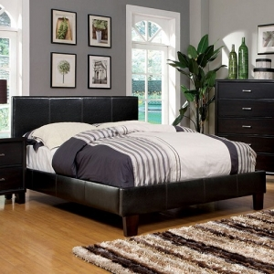 189T Padded Leatherette Twin Bed - Contemporary Style Padded Leatherette Platform Bed<br><Br>English Style Headboard<br><Br>European Style Slat Kit<br><br>