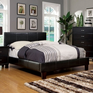 013Q Padded Leatherette Platform Queen Bed