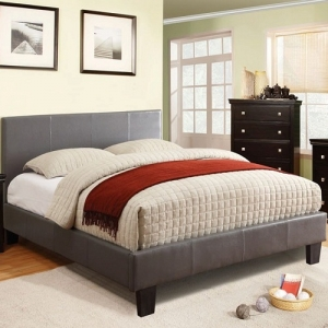 190T Padded Leatherette Platform Twin Bed