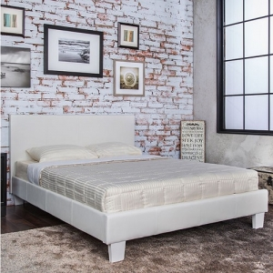 1072FB Full White Leatherette Bed - Contemporary Style <br><Br>Padded Leatherette Platform Bed<br><br>English Style Headboard<br><Br>European Style Slat Kit<br><Br>