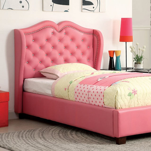0238T Upholstered Pink Leatherette Bed - Finish: Pink<br><br>Available in Full Size<br><br>European Style Slat Kit Included<br><br>Dimensions: 81