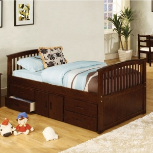 015CB Twin Captain Bed with Drawers - Mission Platform Bed<br><Br>4 Drawers and Storage <br><br>Mattress Ready: Slat Kit Included<br><br>