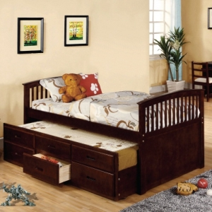 010CB Twin Bed W/Trundle - Mission Platform Bed<br><Br>Slat Kit Included<br><Br>Trundle & 3 Drawers<br><br>