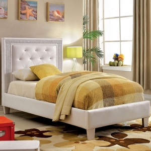0015TB Cordelia Platform Leatherette Twin Bed - Available in Full Size<br><Br>Padded Leatherette Platform Bed<br><br>Crystal-Like Acrylic Button Tufting<br><br>Metallic Mesh Trim<br><br>Slat Kit Included<br><Br>