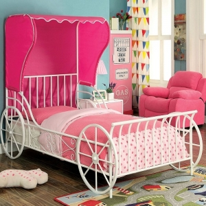 1049TMB Twin Carriage Bed - Available in Full Size<Br><Br>Carraige Style<br><br>Pink Fabric Wing Back Tent<br><br>Full Metal Construction<br><Br>Powder Coated Platform Bed<br><Br>Slatted H/B & F/B<br><Br>Ample Support Mattress Ready<br><Br>
