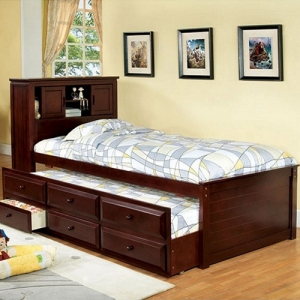 008CB Captain Twin Bed - Classic Twin Trundle Bed has a built-in bookcase headboard with sliding doors. <br><br>Mattress-Ready Slat Kit Included<br><br>Trundle & 3 Drawers<br><br>