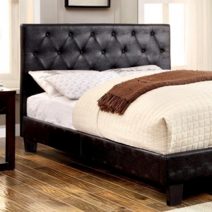 0143T Platform Leatherette Twin Bed - Available in Full Size<br><br>Crocodile Skin Texture<br><br>Button Tufted Headboard<br><br>Slat Kit Included<br><br>Tapered Legs<br><Br>