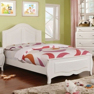 083FB White Full Bed  - Transitional Style<br><Br>Soft Curved Design<br><BR>