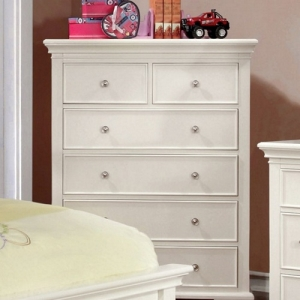 120CH White 6 Drawer Chest - Transitional Style <br><br>Attractive Molding<br><br> Round Nickel Knobs <br><Br>Bracket Feet<br><br> Solid Wood, Wood Veneer & Others<br><br>