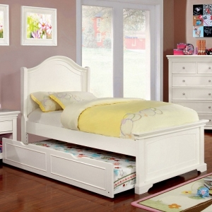 0132T White Twin Low Footboard Bed
