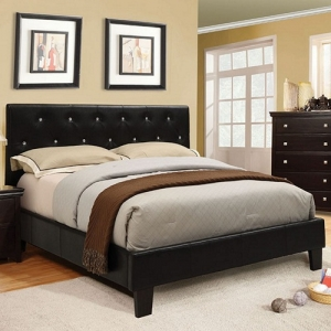 0142T Platform Leatherette Twin Bed - Padded Leatherette Platform Bed<br><Br>Crystal-like Acrylic Button Tufting<br><Br>Slat Kit Included<br><Br>