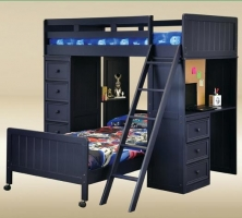 074 Twin Loft Bed with Chest and Desk w/Corkboard in Blue  - L80