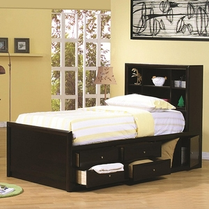 016CB Full Bed w/ Bookcase Headboard - Transitional design<br><br>Storage bed options to select from that will maximize space in your room<br><Br>